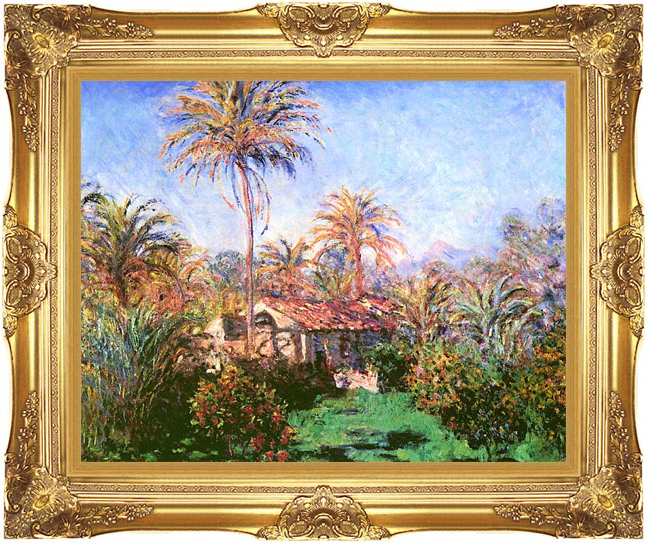 Claude Monet Palm Trees At Bordighera Canvas With Majestic Gold Frame