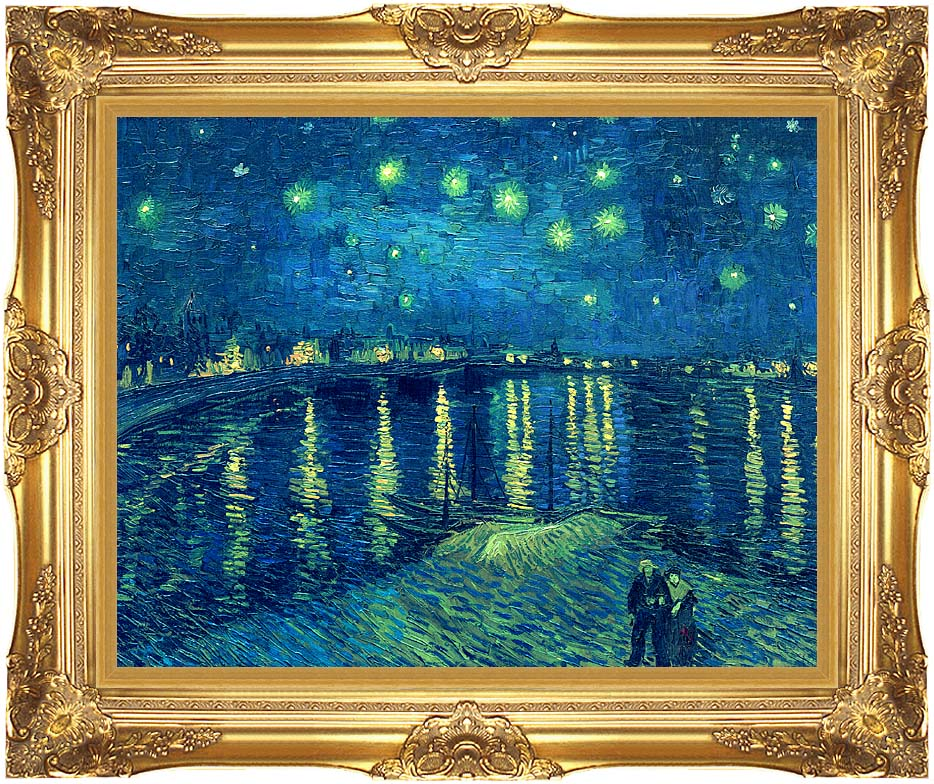 Vincent van Gogh Starry Night over the Rhone with Majestic Gold Frame