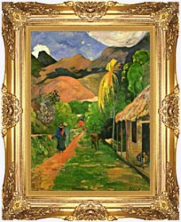 Paul Gauguin Street In Tahiti canvas with Majestic Gold frame