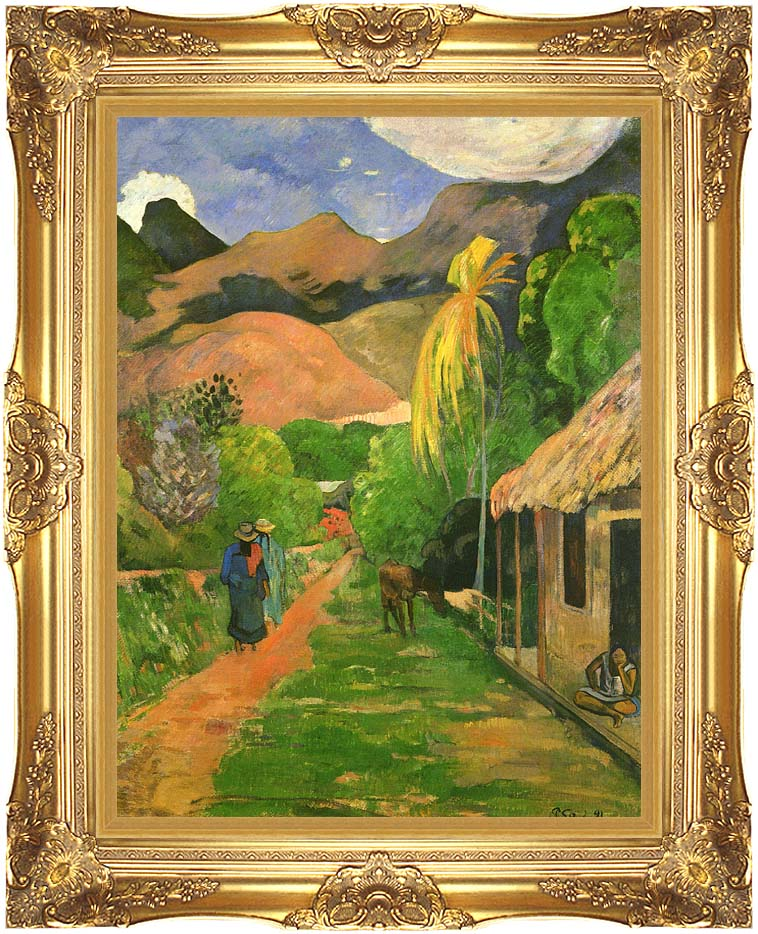 Paul Gauguin Street in Tahiti with Majestic Gold Frame