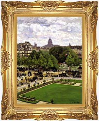 Claude Monet Garden Of The Princess Louvre canvas with Majestic Gold frame