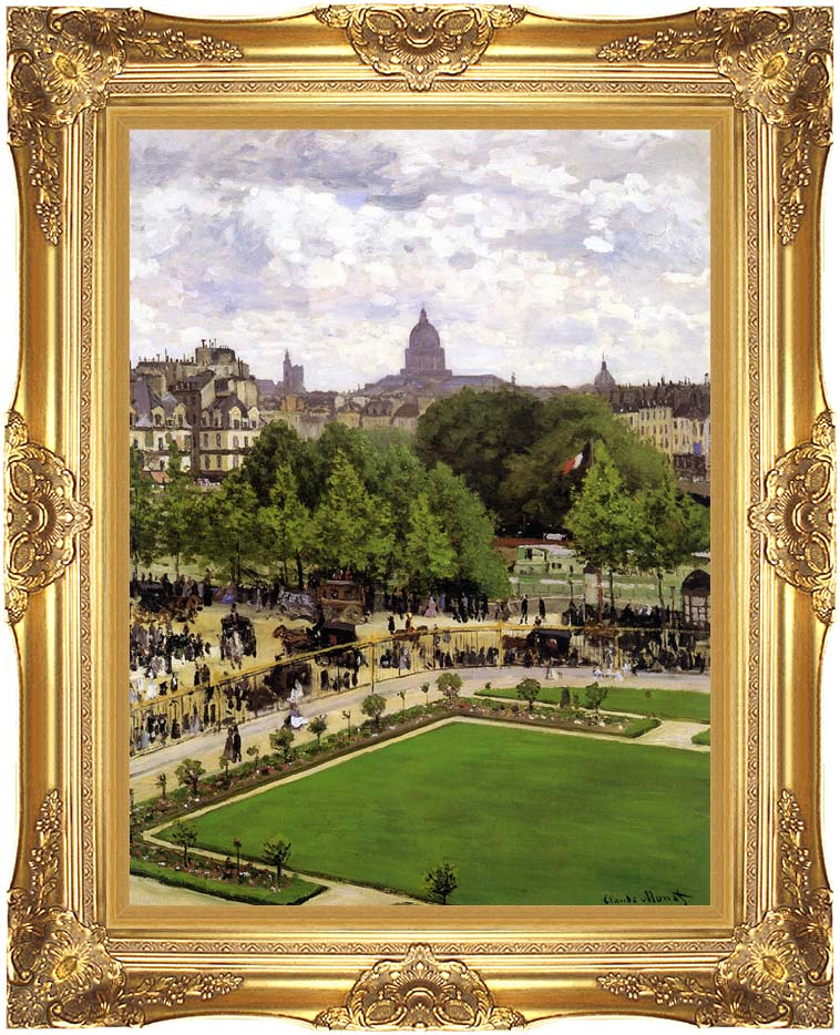 Claude Monet Garden of the Princess, Louvre with Majestic Gold Frame