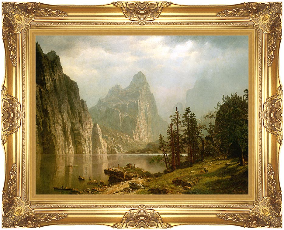 Albert Bierstadt Merced River, Yosemite Valley with Majestic Gold Frame