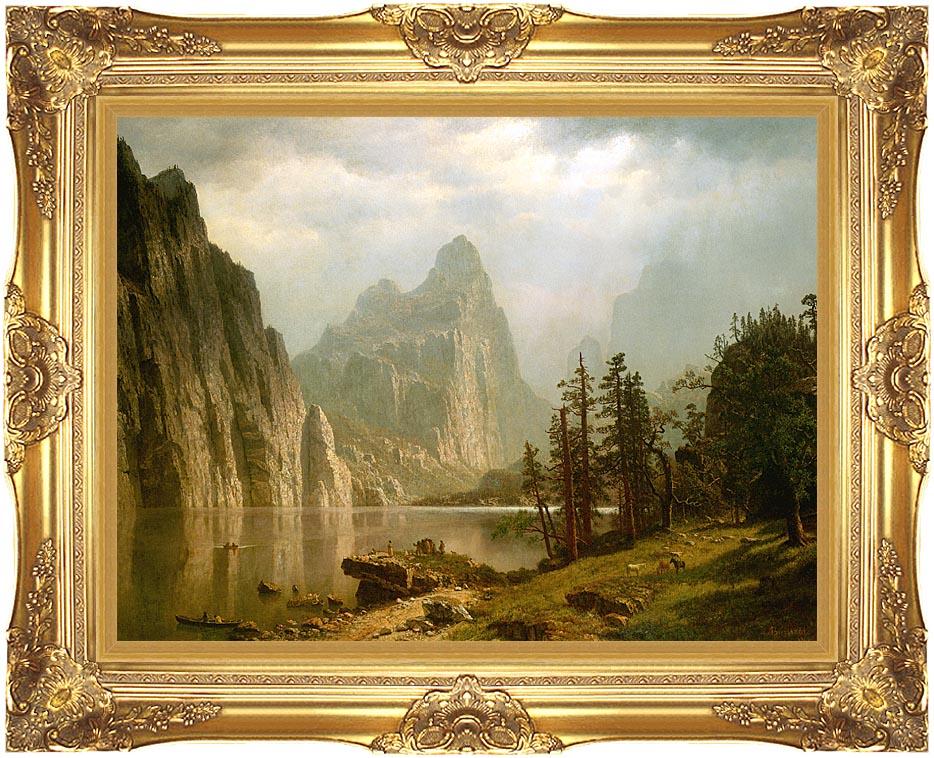 Albert Bierstadt Merced River, Yosemite Valley with Majestic Gold Frame