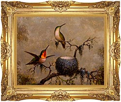 Martin Johnson Heade Hummingbirds And Their Nest canvas with Majestic Gold frame