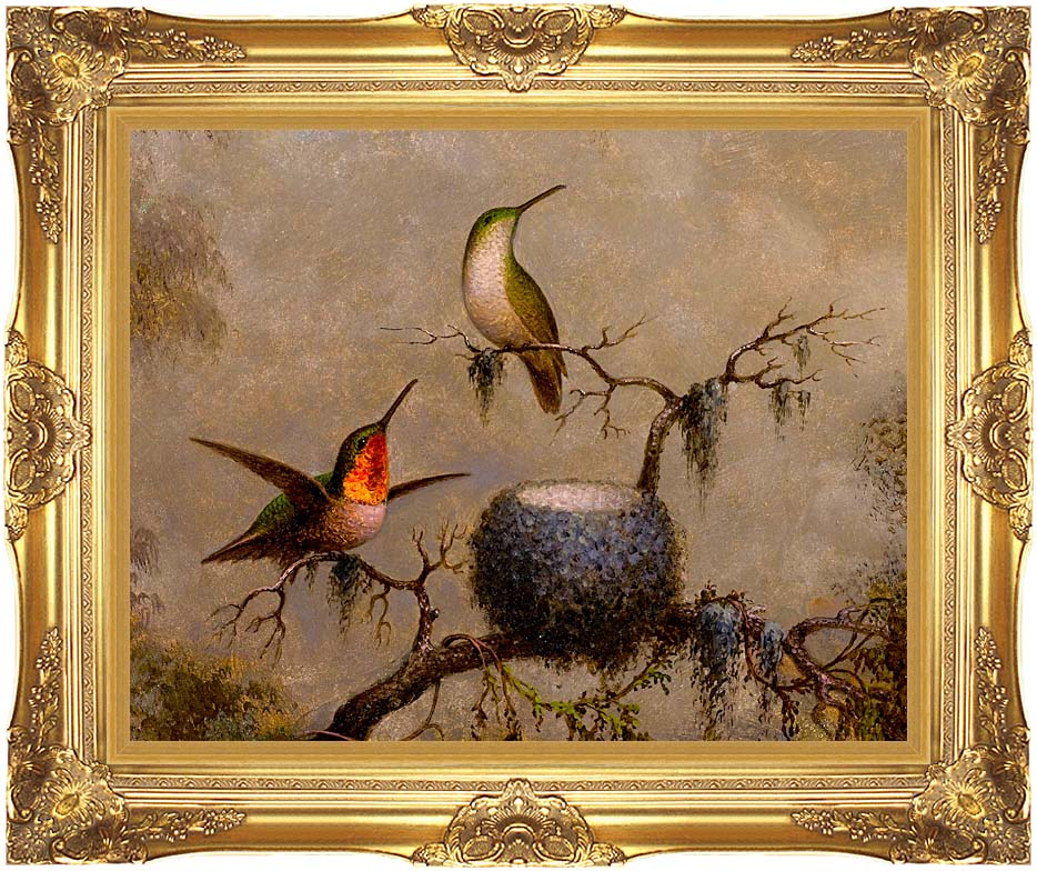 Martin Johnson Heade Hummingbirds and Their Nest with Majestic Gold Frame