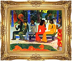 Paul Gauguin We Shall Not Go To Market Today canvas with Majestic Gold frame