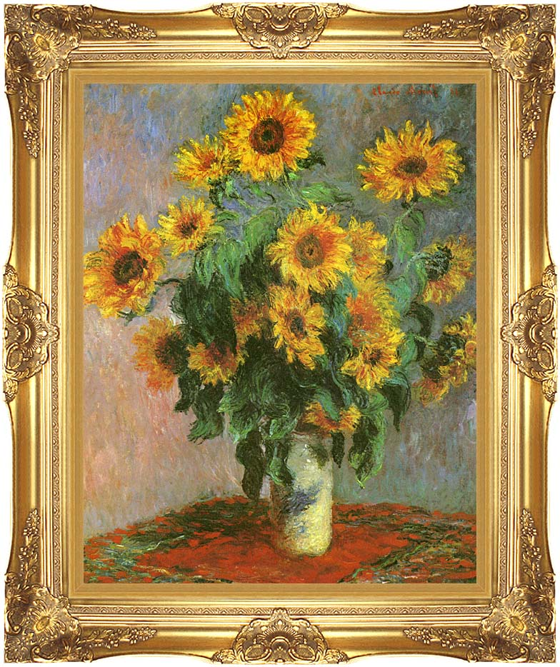Claude Monet Sunflowers with Majestic Gold Frame