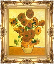Vincent Van Gogh Still Life Vase With Fourteen Sunflowers canvas with Majestic Gold frame