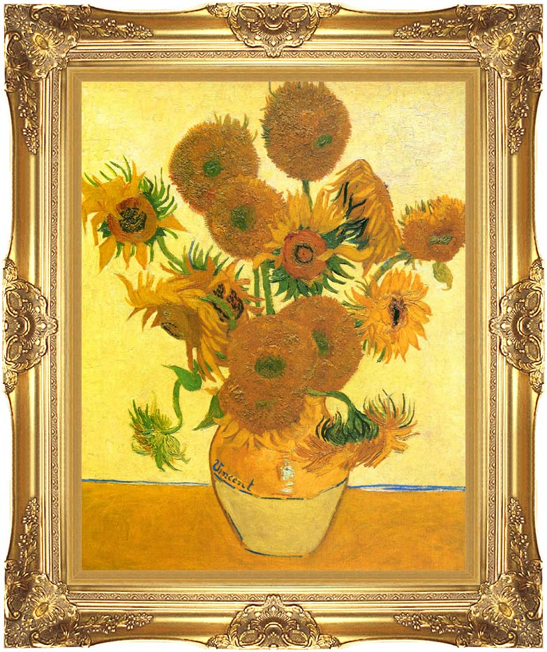 Vincent van Gogh Still Life: Vase with Fourteen Sunflowers with Majestic Gold Frame