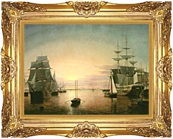 Fitz Hugh Lane Boston Harbor At Sunset canvas with Majestic Gold frame