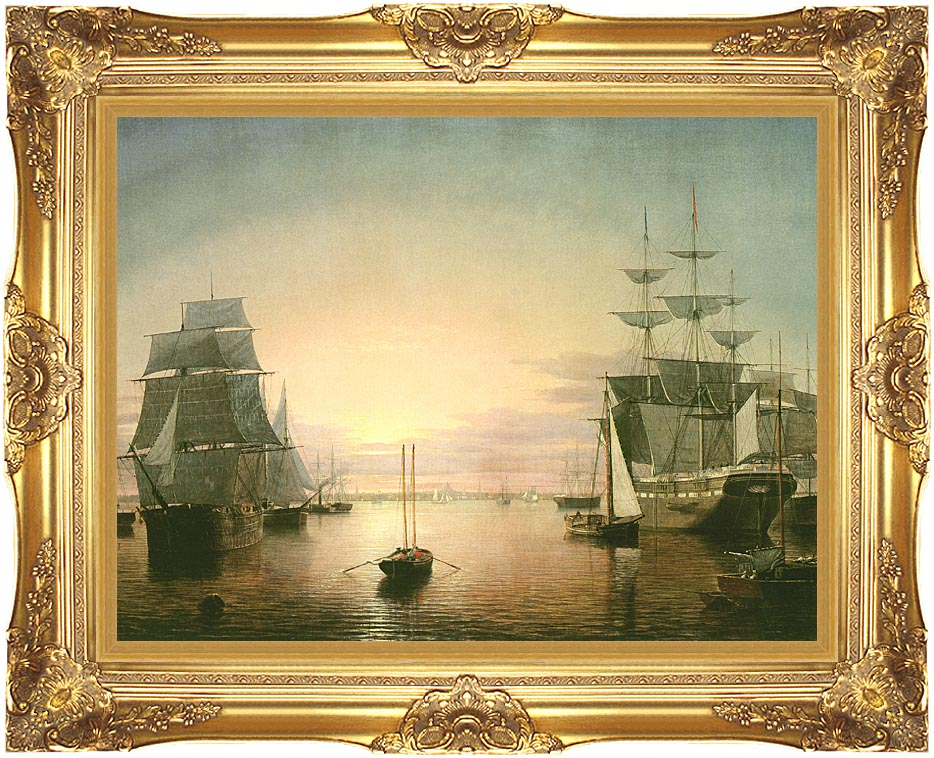 Fitz Hugh Lane Boston Harbor at Sunset with Majestic Gold Frame
