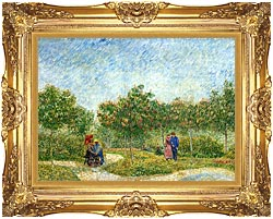 Vincent Van Gogh Courting Couples In A Public Park In Asnieres canvas with Majestic Gold frame