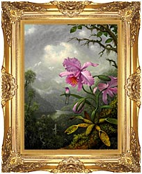 Martin Johnson Heade Hummingbird Perched On The Orchid Plant canvas with Majestic Gold frame