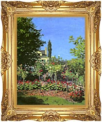 Claude Monet Garden In Bloom canvas with Majestic Gold frame