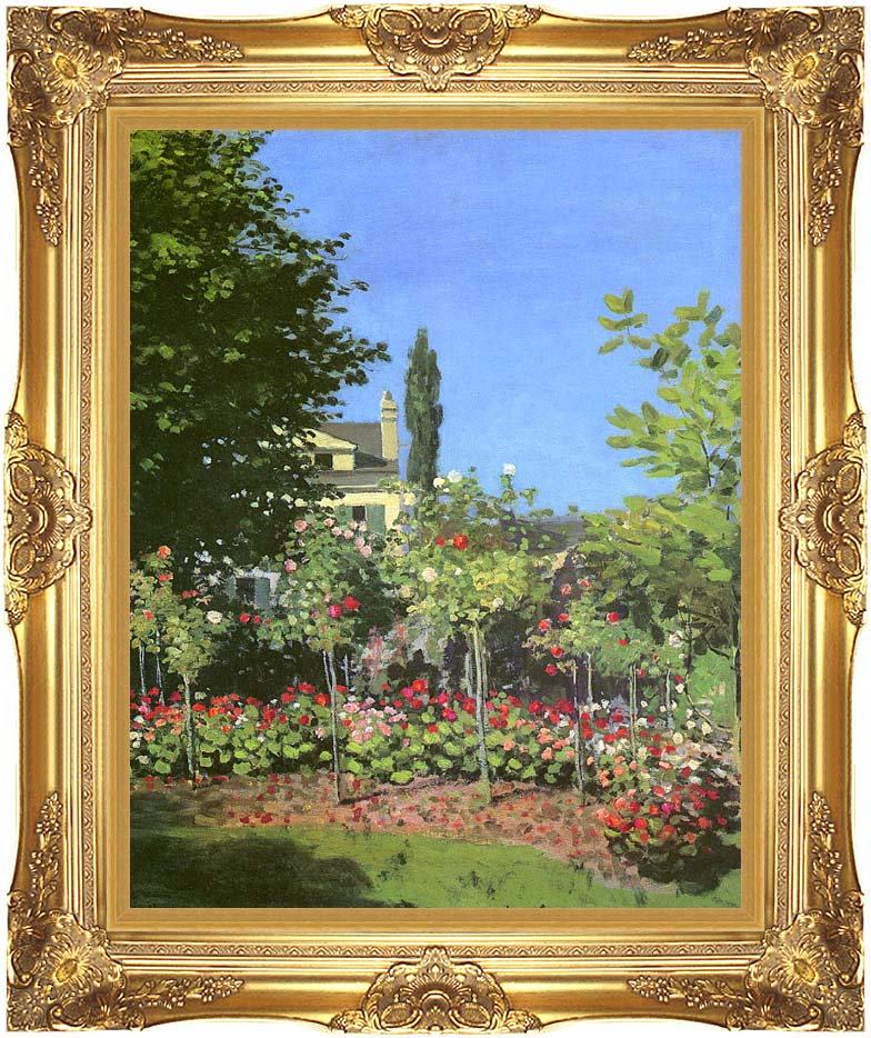 Claude Monet Garden in Bloom with Majestic Gold Frame