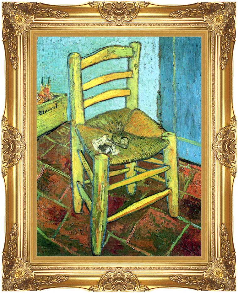 Vincent van Gogh Vincent's Chair with His Pipe with Majestic Gold Frame