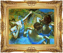 Edgar Degas Blue Dancers Detail canvas with Majestic Gold frame