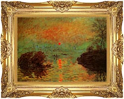 Claude Monet Sunset On The Seine At Lavacourt Winter Effect canvas with Majestic Gold frame