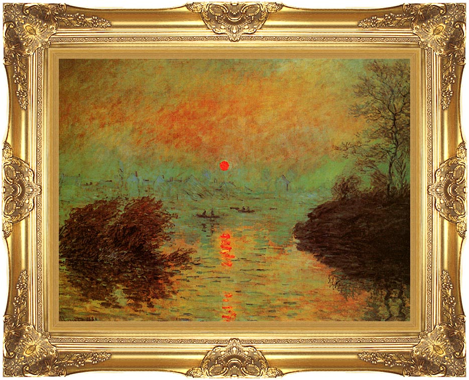 Claude Monet Sunset on the Seine at Lavacourt: Winter Effect with Majestic Gold Frame