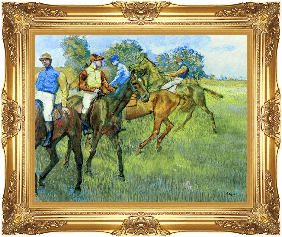 Edgar Degas Race Horses with Majestic Gold Frame
