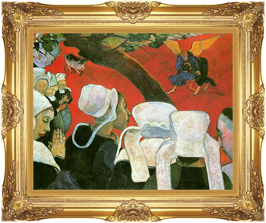 Paul Gauguin Vision After the Sermon: Jacob Wrestling with the Angel with Majestic Gold Frame