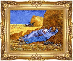 Vincent Van Gogh Noon Rest From Work canvas with Majestic Gold frame