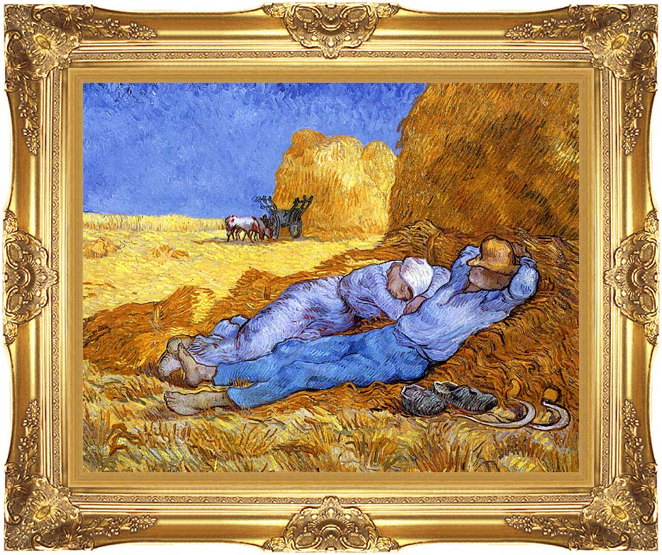 Vincent van Gogh Noon: Rest from Work with Majestic Gold Frame
