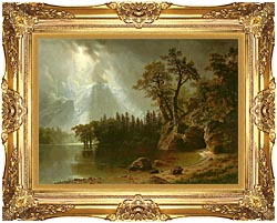 Albert Bierstadt Passing Storm Over The Sierra Nevadas canvas with Majestic Gold frame