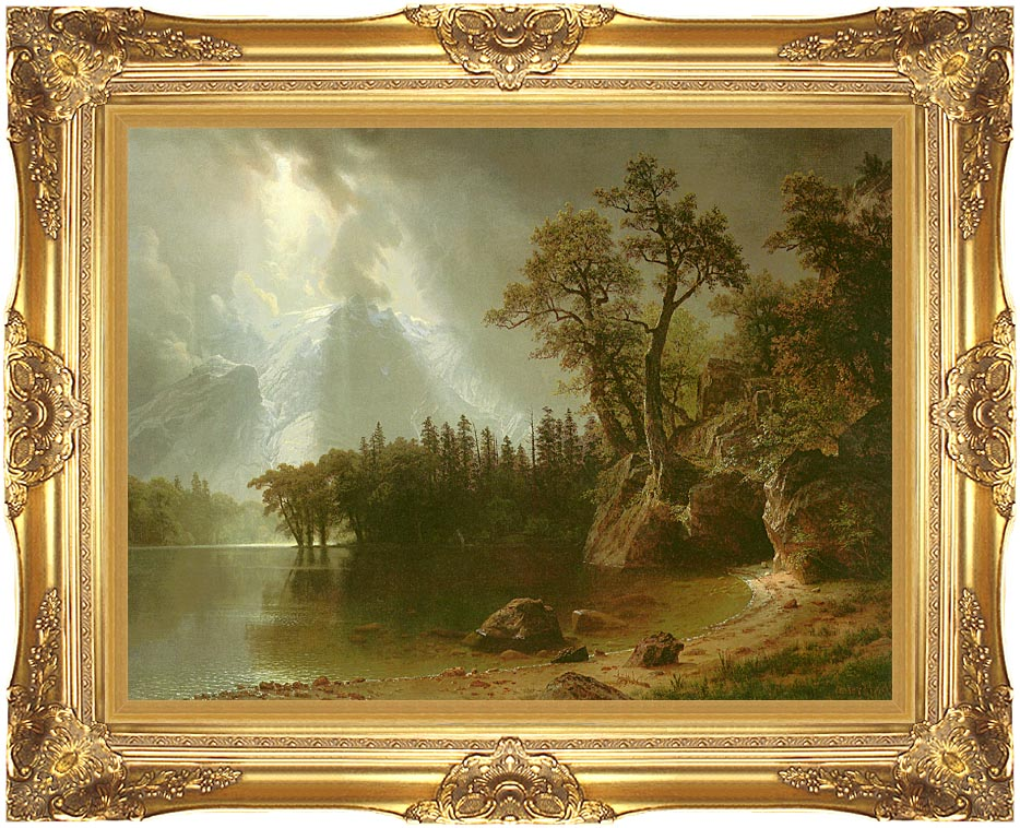 Albert Bierstadt Passing Storm Over the Sierra Nevadas with Majestic Gold Frame