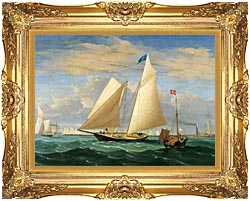 Fitz Hugh Lane The Yacht America Winning The International Race canvas with Majestic Gold frame