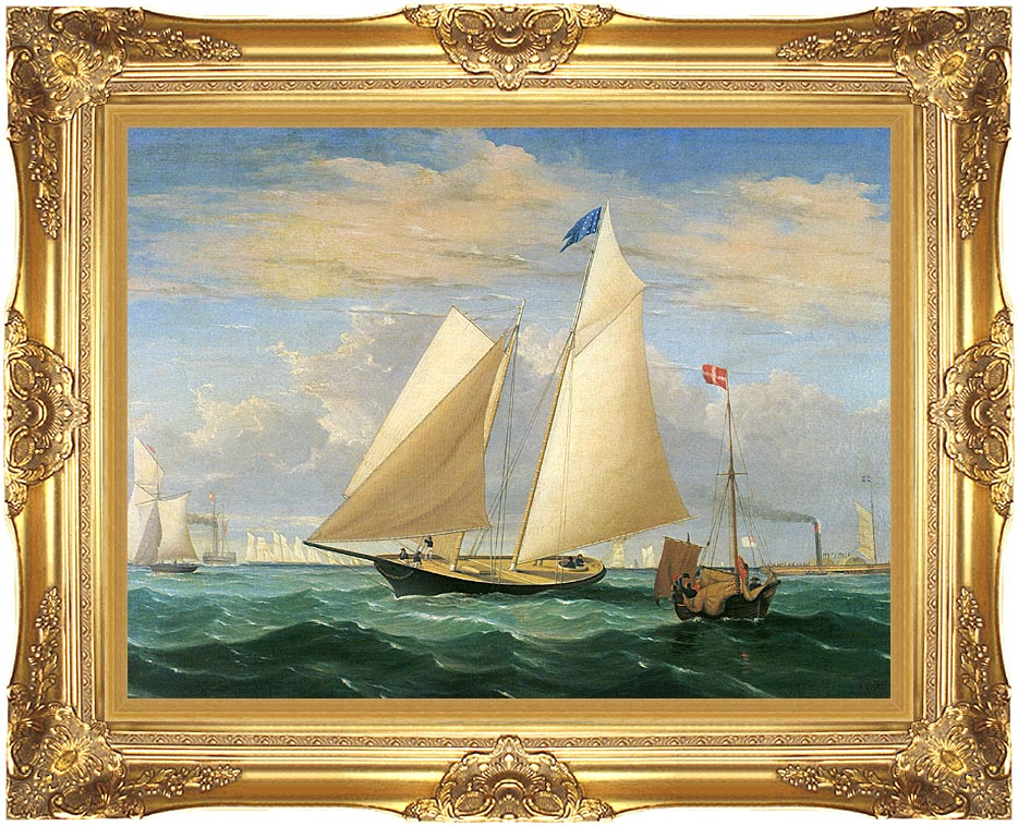 Fitz Hugh Lane The Yacht America Winning the International Race with Majestic Gold Frame