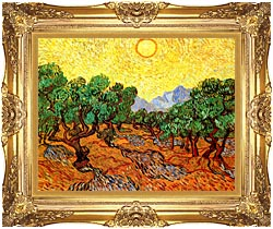Vincent Van Gogh Olive Trees With Yellow Sky And Sun canvas with Majestic Gold frame