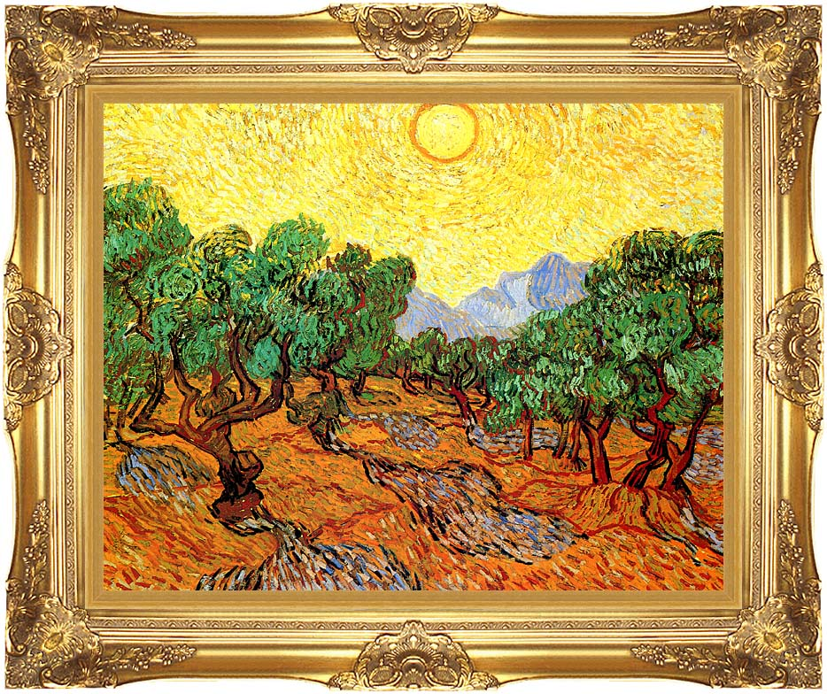 Vincent van Gogh Olive Trees with Yellow Sky and Sun with Majestic Gold Frame