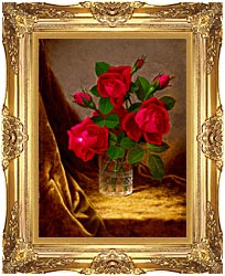 Martin Johnson Heade Jacqueminot Roses canvas with Majestic Gold frame