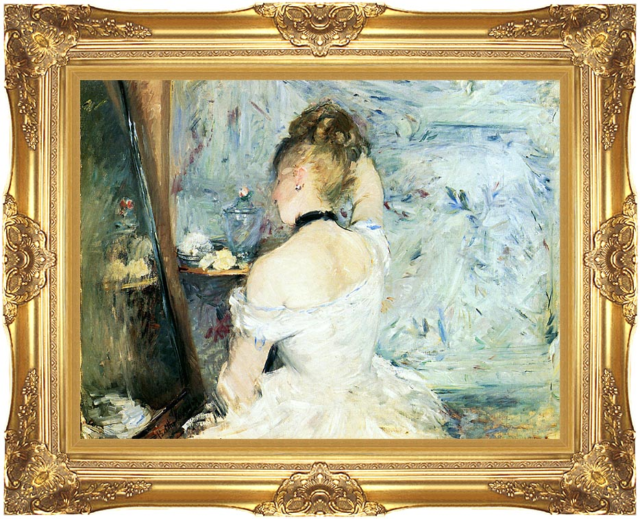 Berthe Morisot Lady at Her Toilette with Majestic Gold Frame