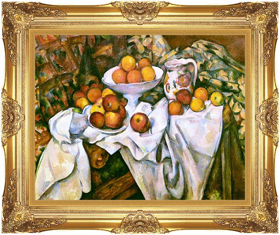 Paul Cezanne Still Life with Apples and Oranges with Majestic Gold Frame