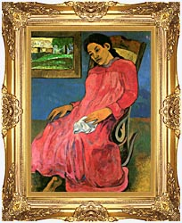 Paul Gauguin The Dreamer canvas with Majestic Gold frame