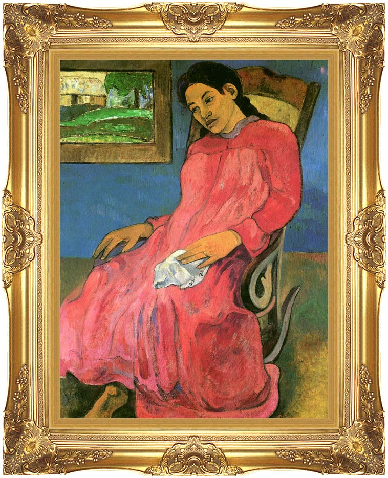 Paul Gauguin The Dreamer with Majestic Gold Frame