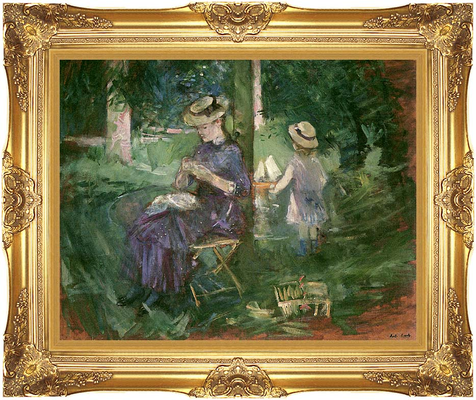 Berthe Morisot Young Woman Sewing in a Garden with Majestic Gold Frame