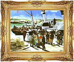 Edouard Manet The Departure Of The Folkestone Boat canvas with Majestic Gold frame