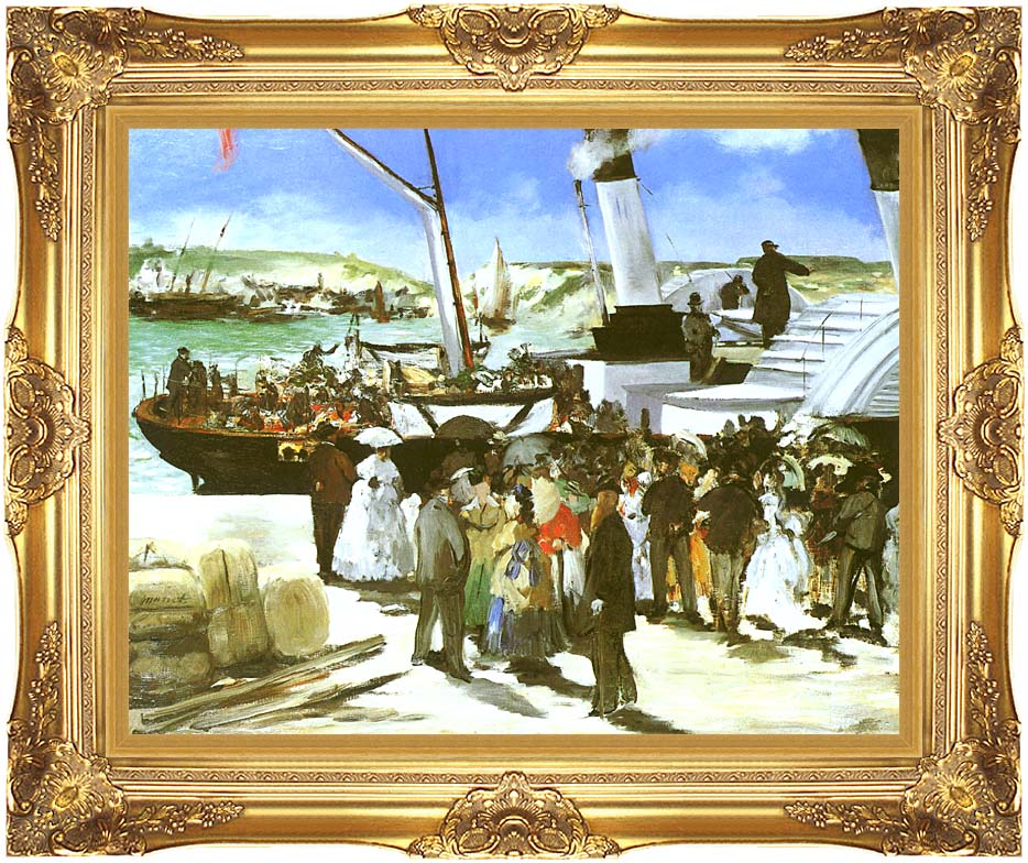 Edouard Manet The Departure of the Folkestone Boat with Majestic Gold Frame