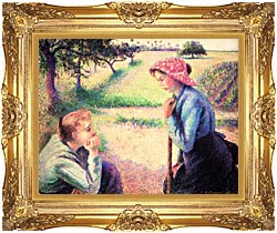 Camille Pissarro The Chat canvas with Majestic Gold frame