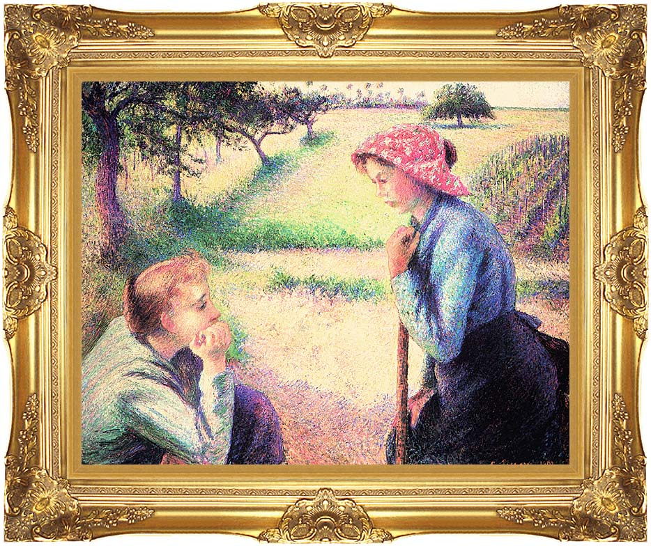 Camille Pissarro The Chat with Majestic Gold Frame