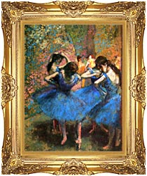 Edgar Degas Dancers In Blue canvas with Majestic Gold frame