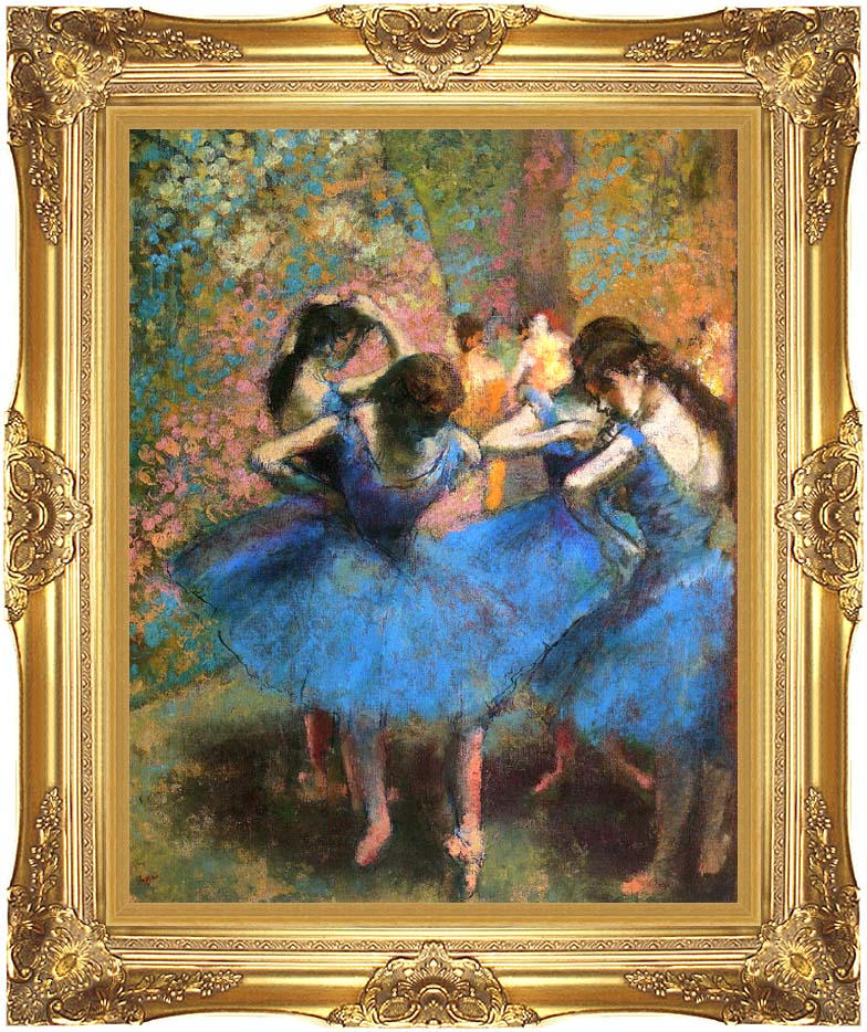 Edgar Degas Dancers in Blue with Majestic Gold Frame