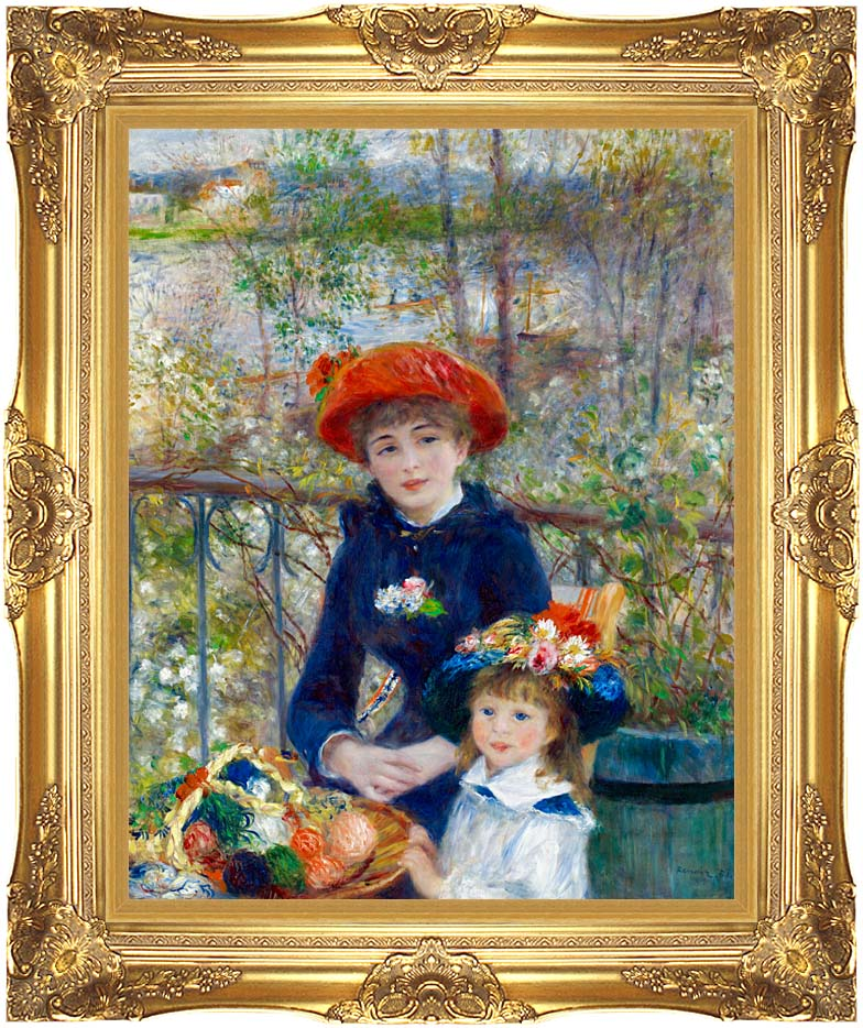 Pierre Auguste Renoir Two Sisters on the Terrace with Majestic Gold Frame