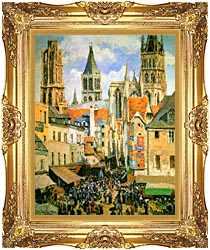 Camille Pissarro The Old Market Place In Rouen And The Rue De Lepicerie canvas with Majestic Gold frame