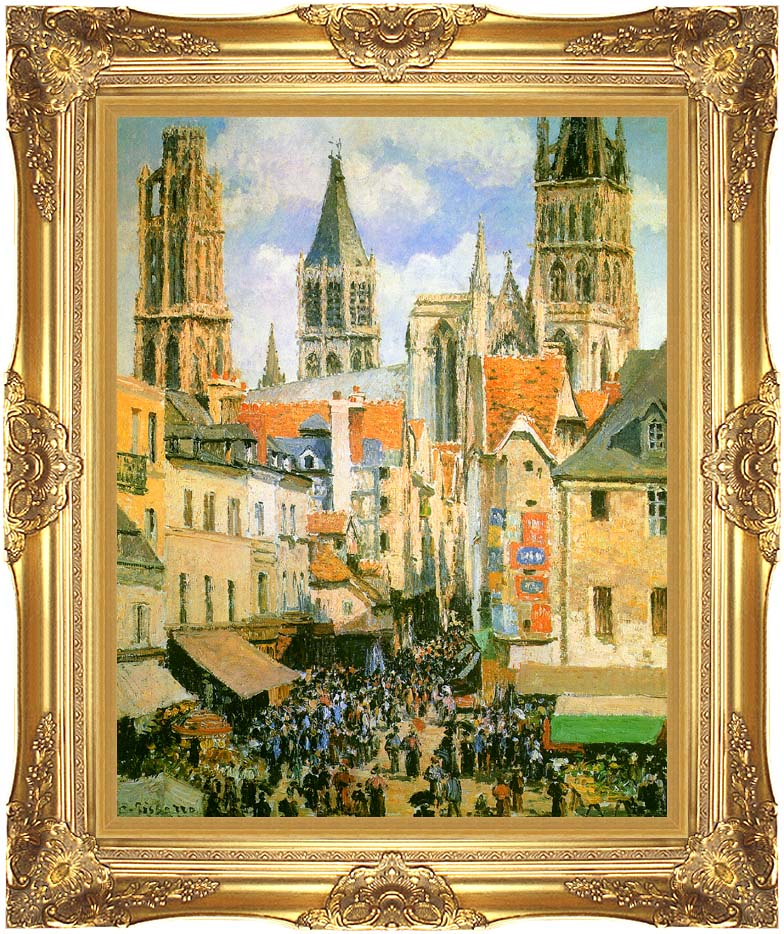 Camille Pissarro The Old Market-Place in Rouen and the Rue de l'Epicerie with Majestic Gold Frame