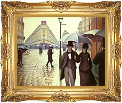 Gustave Caillebotte Paris A Rainy Day canvas with Majestic Gold frame
